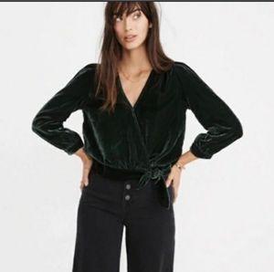 Madwell Green Velvet Wrap Blouse